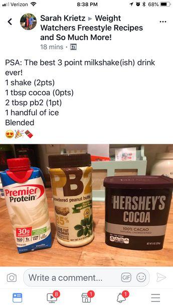 WW PB choc milkshake for 3 pts