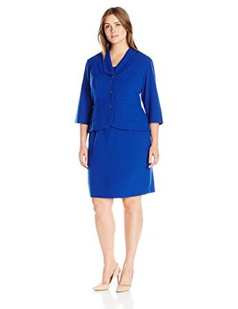 Danny  Nicole Womens Plus Size 2 Piece Structured JacketDress Cobalt 18W ** Details can be found by clicking on the image.