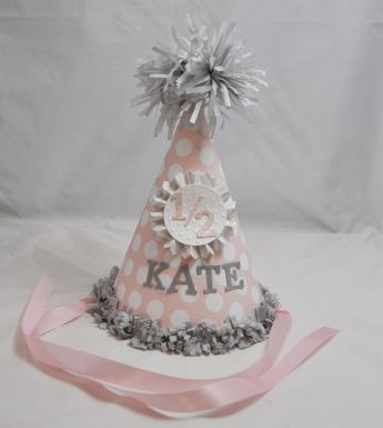 Baby Girl Half Birthday Hat Personalized Party Pink And Gold 6 Month