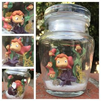 polymer clay ponyo in a bottle