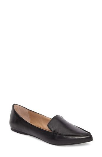 e8c003d9332 Feather Loafer Flat in Black Leather