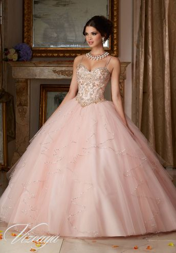 63e00829120 Jeweled Beading on a Flounced Tulle Quinceañera Dress