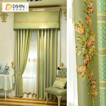 DIHIN HOME Red Flowers Green Background Printed,Blackout Curtains Grommet Window Curtain for Living Room ,52x84-inch,1 Panel