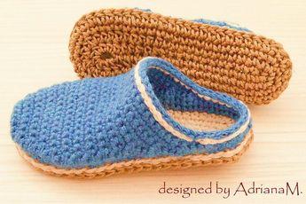 3c2f972eb7da1 Crochet pattern- men basic slippers with rope soles,soles p