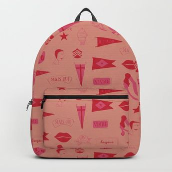 Patches - Pink + Red Backpack by poppytalk | Society6