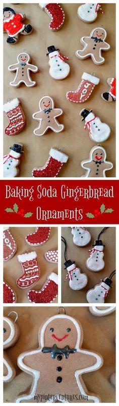 Baking Soda Dough Gingerbread Glitter Ornaments