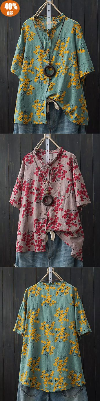 Batwing Sleeve Floral Print Button Pocket Shirts