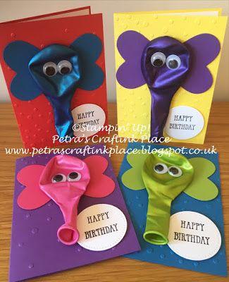 Petra's CraftInk Place: Elephant Balloon Birthday Cards