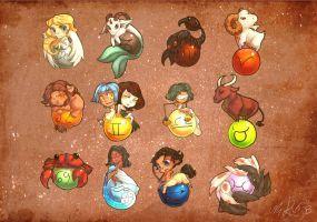 Zodiac Chibies by BloodnSpice