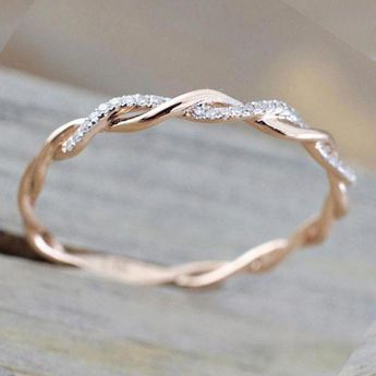 Simple Dainty Everyday Ring Fashion Jewelry for Teens Women's Stakable Crystal Rose Gold Ring (www.Jewolite.com) #rings #jewelrysimpleminimalist