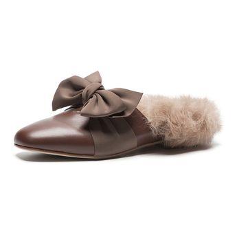 6d4a7230aae Bowknot Fur Leisure Mules Shoes