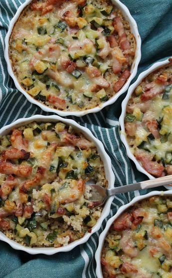Mini gratin de quinoa, courgette, lardons, crème fraîche et comté