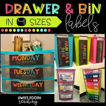 Colorful Drawer Labels & Centers Organization (Black Background)