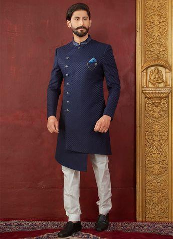 3f5ef550f8 Buy Blue Indowestern Sherwani, Jacquard, indowestern sherwani Online  Shopping   SHMARC6121