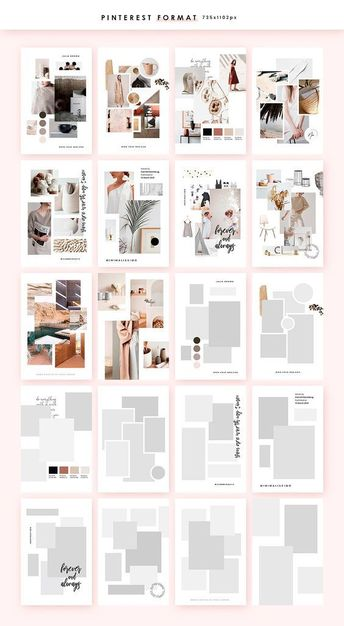 Customisable Moodboard templates, created in PHOTOSHOP and optimised in 2 different sizes for the best presentation on Pinterest, Instagram and not only. #creativemarket #webdesign