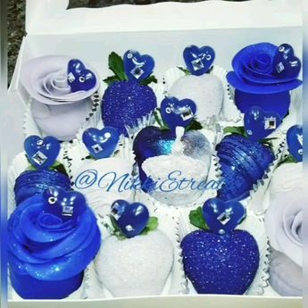 Blue White & Silver Chocolate covered strawberries, cookies, and cupcakes with icing glitter roses and hearts