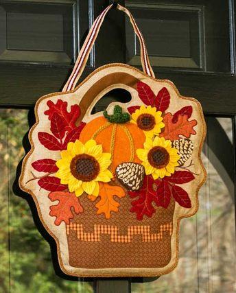 "Autumn Basket Burlap Door Decor - 20"" x 22.5"" - Evergreen"