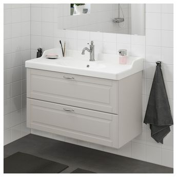 IKEA - GODMORGON / RÄTTVIKEN Bathroom vanity Kasjön light gray,