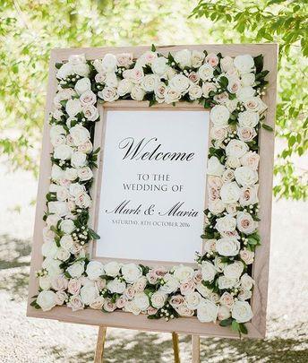 Glamorous floral wedding sign idea. // mysweetengagement.com // #weddings #weddingideas #weddinginspiration #weddingsigns #weddingdecor #weddingreception