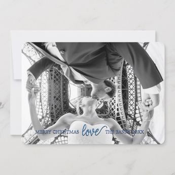 "7"" x 5"" Love Christmas Card in Nebulas Blue 