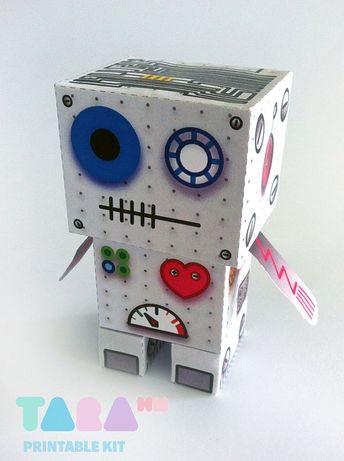 DIY Printable Cutout Robot, DIY Paper Toy, Printable Robot, Metal Bot, TaraBot, Instant Download Rob