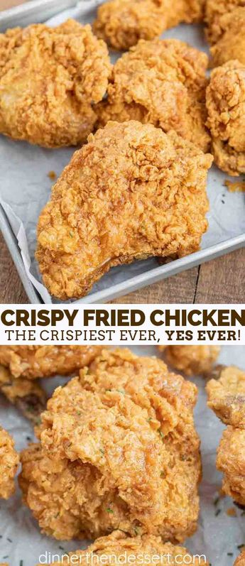 Super Crispy Fried Chicken made with buttermilk, chicken, hot sauce, and seasoned flour is crispy on the outside and tender on the inside, PERFECT for dinner or to bring to a potluck or picnic! #friedchicken #chicken #southern #summer #bbq #picnic #crispy #buttermilk #dinnerthendessert