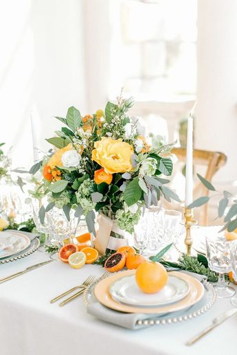Vibrant Citrus Wedding Inspiration Shoot at Great Marsh Estate - Chic Vintage Brides : Chic Vintage Brides