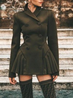 Solid Double-Breasted OL Blazer Dress