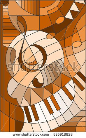 Abstract image of a treble clef in stained glass style ,brown tone