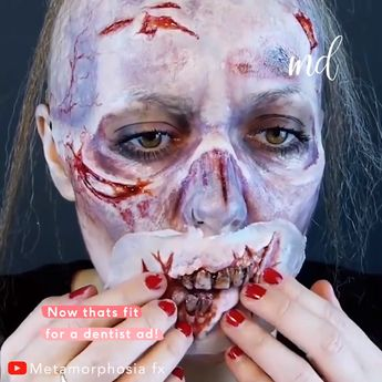 This zombie mask is the most horrifying thing I have ever seen, she is so talented, & so ready for halloween! By @metamorphosiafx