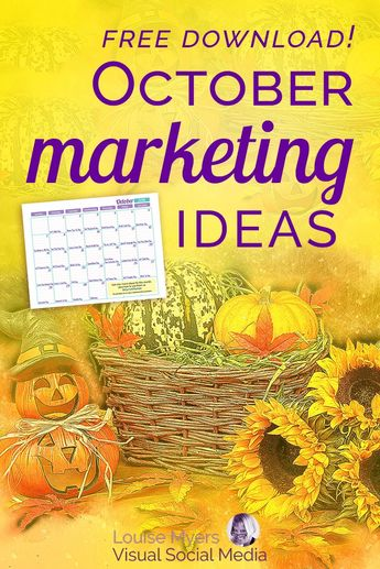 Creative October marketing ideas! Click to blog for FREE printable inspiration calendar. Don't miss this opportunity to plan your small business social media or blog content for Fall and Halloween. | #LouiseM #October #FallIdeas #SmallBusinessTips #Bloggers #SocialMediaMarketing