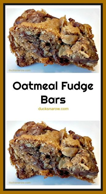 Fudgy Oatmeal Chocolate Bars- September 2019