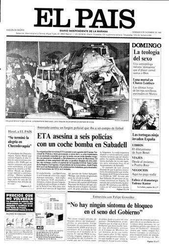 Portada de EL PAÍS del 09-12-1990