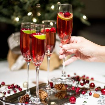 A festive holiday Cranberry Champagne Cocktail!