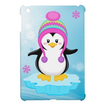 cute sweet little girl bundled up penguin cartoon case for the iPad mini