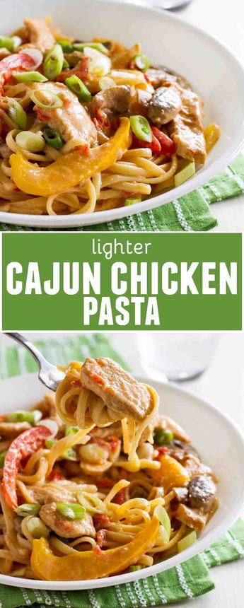 Filled with vegetables and a good kick of spice, you will never guess that this Cajun Chicken Pasta is actually a lighter meal!! #pasta #chicken #cajun #lighter #healthy #healthyrecipes