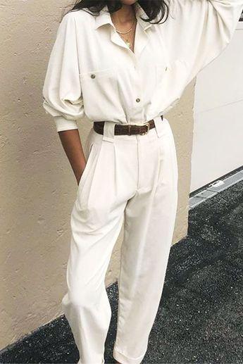 Frauenkleidung - Hemden und Hosen-Outfit-Ideen: Na Nin Vintage weißes Hemd und ...