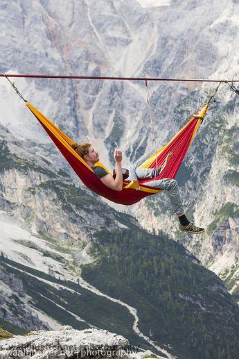 Relaxing in a sky hammock.