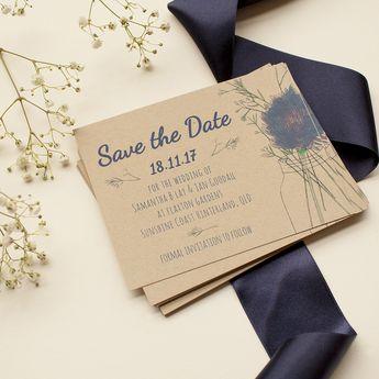 Rustic Mason Jar Flowers - Save The Date