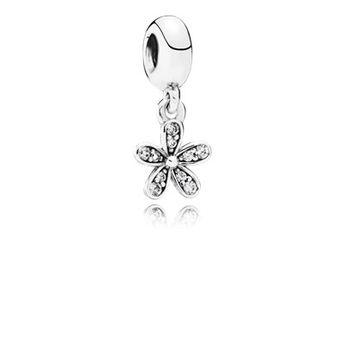 Daisy silver dangle with cubic zirconia - 791491CZ