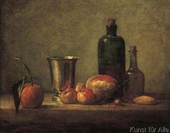 Fine Art Reproduction Bigarade, gobelet d'argent, pommes d'api, poire et deux bouteilles by Jean-Baptiste-Siméon Chardin on Feinleinen