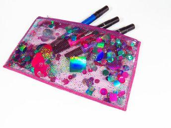 Glitter Pencil Case Clear Makeup Bag Holographic Bag Vinyl Cosmetic Case