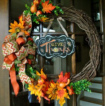 Bring on Fall Yall and be the first to receive this custom design by Door and Decor, LLC.  24 Full Size Fall Grapevine Wreath includes Give Thanks