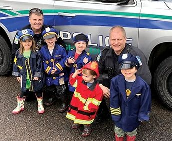 The Shelburne Police were out and about last week. Officers Bob Lake and Dan Eickenberg visited Puddle Jumpers Childcare and talked to the kids about their work.