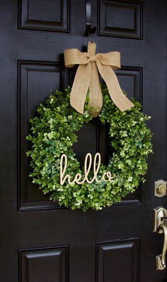 Boxwood Wreath Hello Wreath Greenery Wreath Everyday