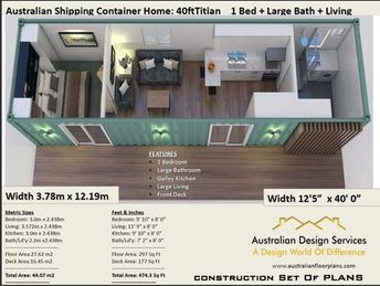 40 Foot Shipping Container Home | Full Construction House Plans | Blueprints USA feet & Inches - Australian Metric Sizes- Hurry- Last Sets