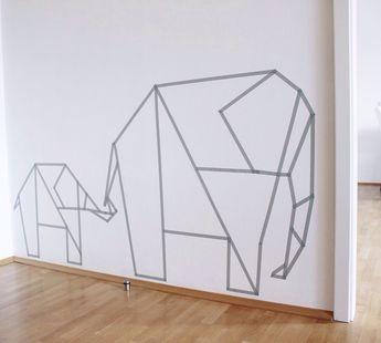 Washi Tape Wall Art Elephants. Tayce Annette Henderson (Diy Bedroom Art)
