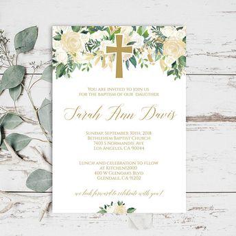 baptism girl invitation christening invitations printable