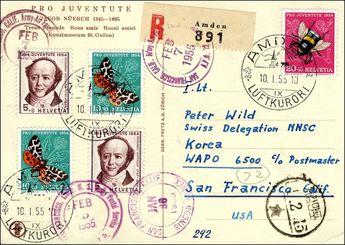 "Switzerland. 1955, Scheizer post from AMDEN 10. 1. 55 at a Member the ""Swiss side NNSC"""