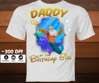Family Little Mermaid Iron On Transfer Birthday Shirt Set Disney Princess Personalized